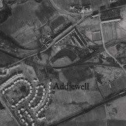 Photo:Aerial view of Addiewell as the old rows were being removed and the new village built.  Probably late 1940s or 1950s