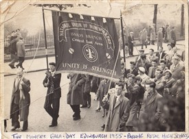 Photo:The BAADS mine banner at the miners gala-day in Edinburgh 1955.