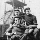 Photo:John Kelly (front), with Allan Mark and Tommy Curran, pithead workers at Loganlea No. 2 pit, 1953.