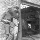 Photo:Two young men at the pithead, Loganlea Colliery.  1950s?