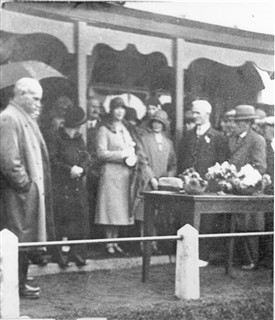 Photo:Opening of Addiewell bowling green, 1930.  Left: James Erskine, Oil Works manager; Bertie Brown (right, in hat); Jimmy Morrison (second right, white hair).