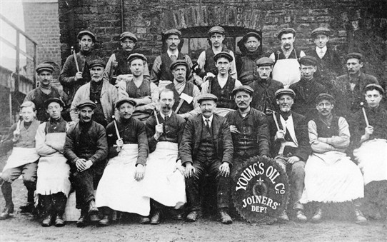 Photo:The joiners employed at Young's Paraffin Light and Mineral Oil Company, Addiewell Oil Works.
