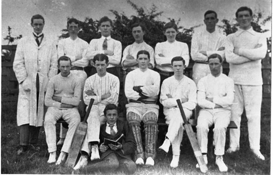 Photo:Addiewell Chemical [i.e. Oil works] Cricket Club, c.1900.
