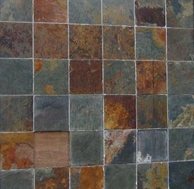 Photo:Squares of shale on the wall of a pub in Pumpherston