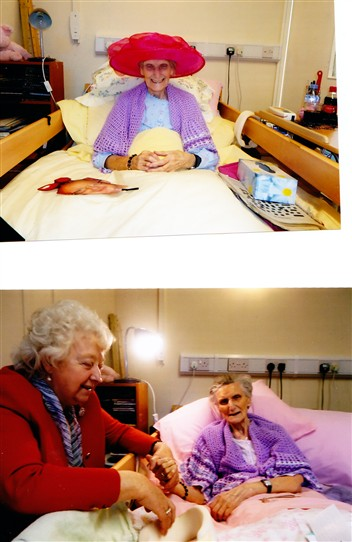 Photo:Two photos of Sister Margaret - above: Looking good for her age in a Spanish sombrero.  Below: Sister Margaret with her cousin Bertha Robertson.