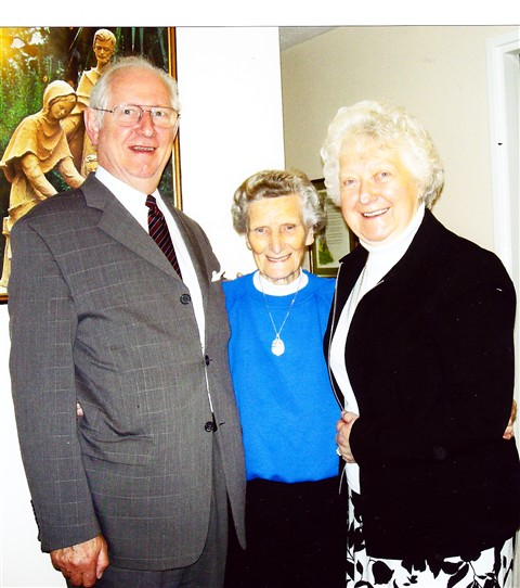 Photo:Jim and Bertha Robertson with Sister Margaret at her 95th birthday celebrations.
