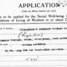 Photo:Application for funds to be applied for the social well-being, recreation and conditions of living of workers in or about coal mines.